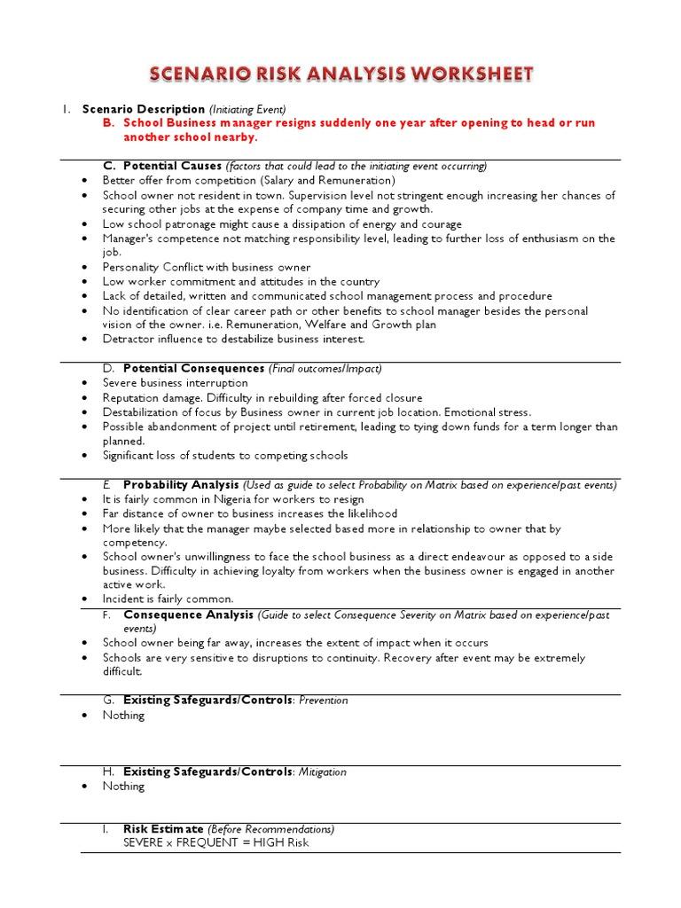Worksheets Business Interruption Worksheet case b risk assessment worksheet assessment