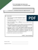 epreuve unif francais cahier 1