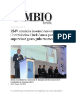 03-10-2013 Diario Matutino Cambio de Puebla - RMV anuncia inversiones en Contralorías Ciudadanas para supervisar gasto gubernamental