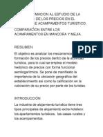 UNA APROXIMACION AL ESTUDIO DE LA FORMACIÓN DE LOS PRECIOS EN EL MERCADO DE ACAMPAMENTOS TURÍSTICO