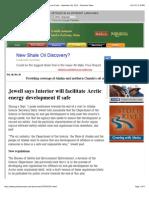 Jewell Says Interior Will Facilitate Arctic Energy Development if Safe - September 08, 2013 - Petroleum News