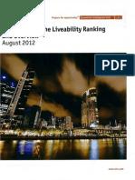 Melbourne Most Liveable City August 2012