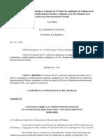 Resolución No. 12-96 que aprueba el Convenio No.172 sobre las condiciones de trabajo en los hoteles, restaurantes y establecimientos similares, adoptado en la 78va. Reunión de la Conferencia Internacional del Trabajo