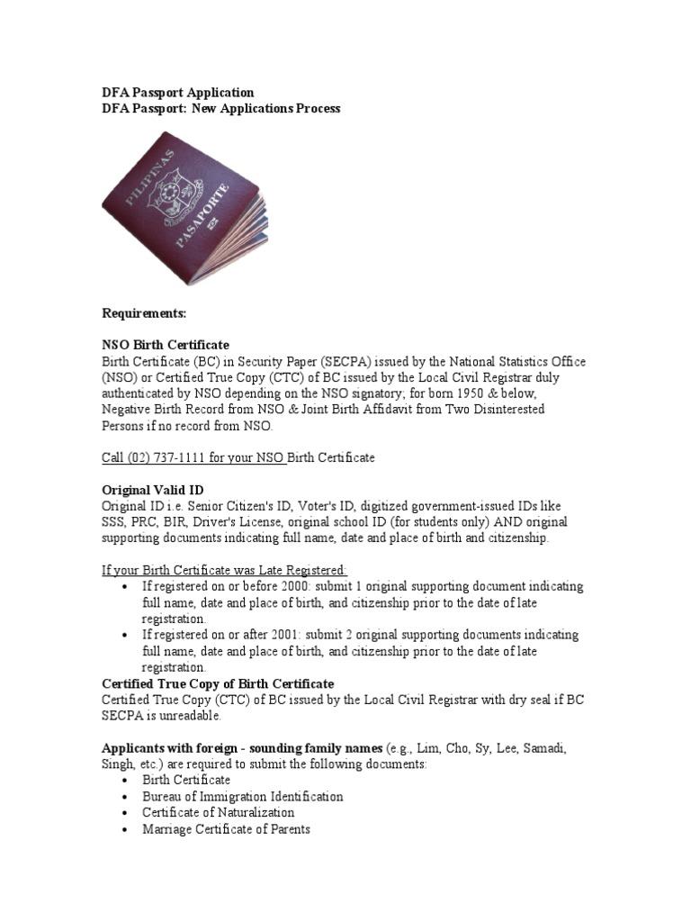 Dfa Passport Application Travel Visa Birth Certificate