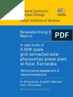 A case study of 3-MW scale grid-connected solar photovoltaic power plant at Kolar,  Karnataka