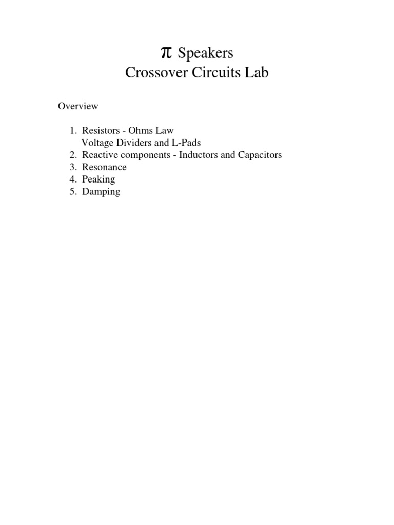Speaker Crossover Lab Series And Parallel Circuits Electrical Active Circuit Diagram In Addition Impedance