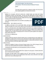 Entrance Exam FAQs 2013-14