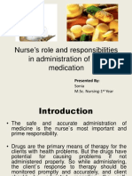 Nurse's role and responsibilities in administration of medication