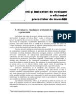 Capitolul 5 Criteriile Si Indicatori de Evaluare a Eficientei Proiectelor de Investitii