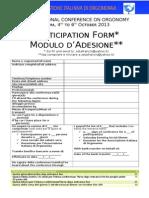 Conferenza Internazionale Di Orgonomia - Modulo Dadesione