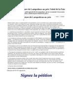 Pour Une Candidature de Lampedusa Au Prix Nobel de La Paix
