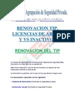 Renovación de TIP, Licencia de armas y v.s inactivos.