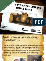 Sistem Peralatan Tambang Bawah Tanah