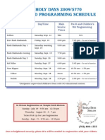 HH Service & Programming Schedule