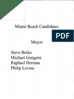 Candidates For Miami Beach Mayor
