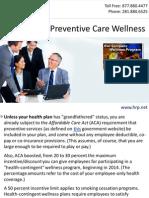 ACA Pushes Preventive Care Wellness