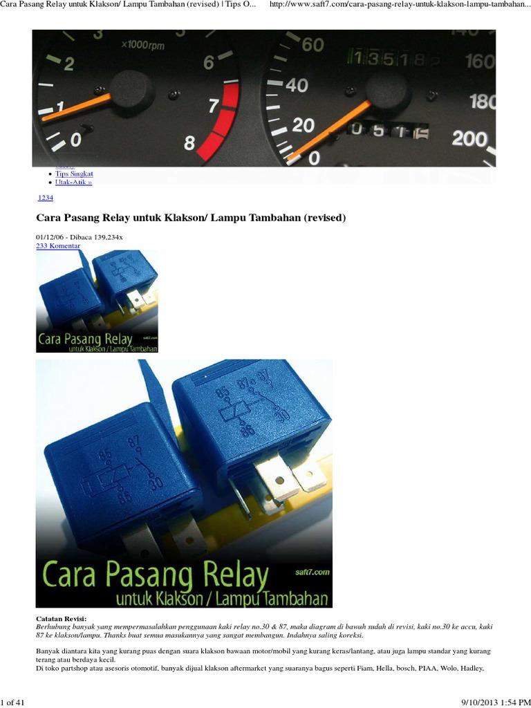 Cara pasang relay untuk klakson lampu tambahan revised tips cara pasang relay untuk klakson lampu tambahan revised tips otomotif saft7pdf ccuart Choice Image