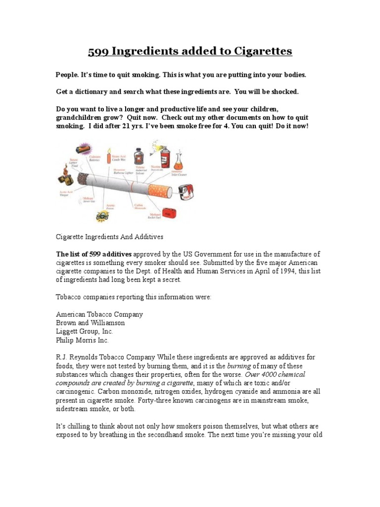 599 Ingredients Added To Cigarettes