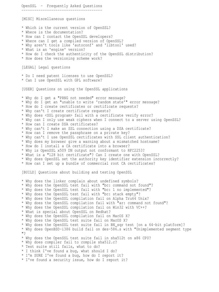 Faq of OpenSSL client   Public Key Certificate   Transport