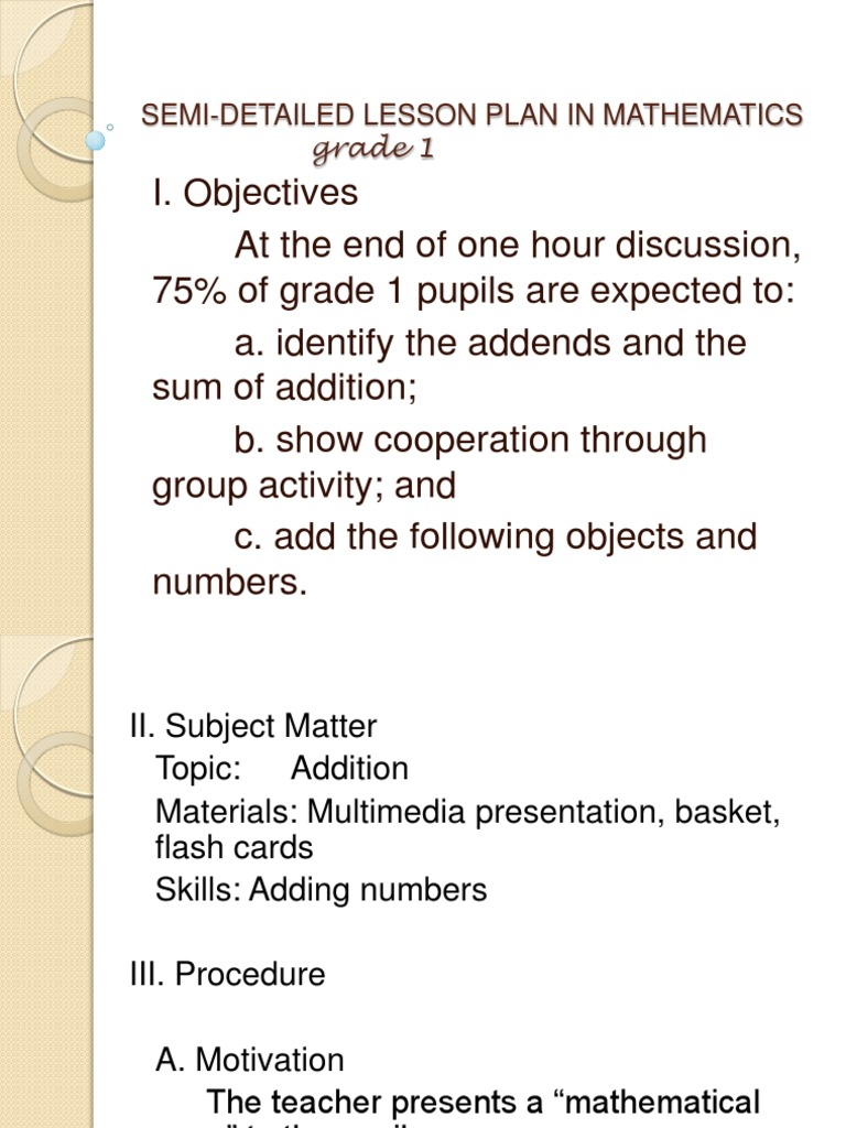 Semi-Detailed Lesson Plan in Mathematics