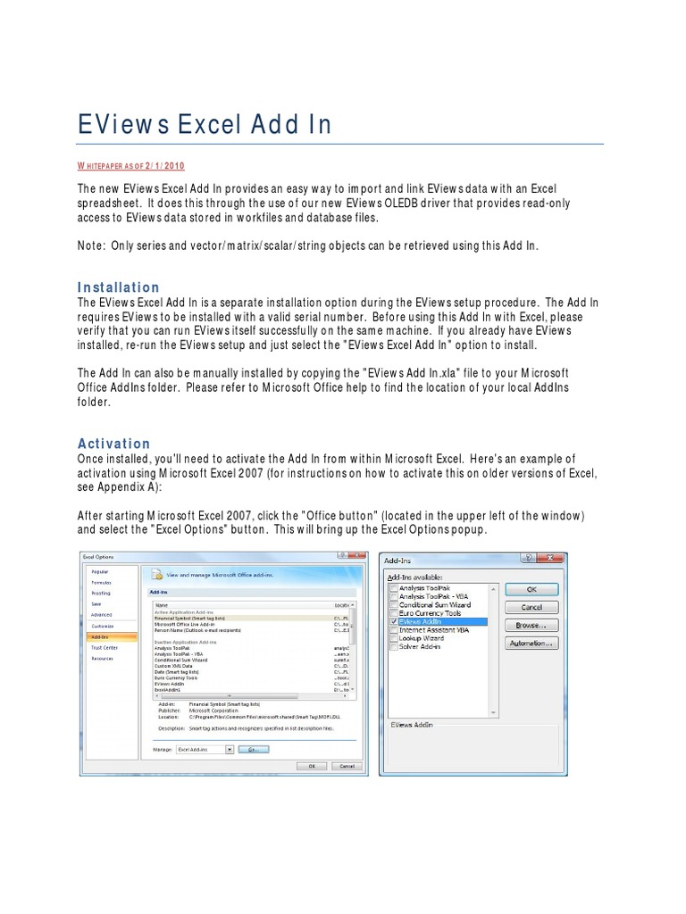 Eviews Excel Add In: Installation