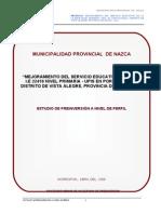 PERFIL DE MEJORAMIENTO INSTITUCION EDUCATIVA  -NAZCA