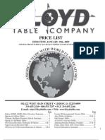 2009 Lloyd Table Price List