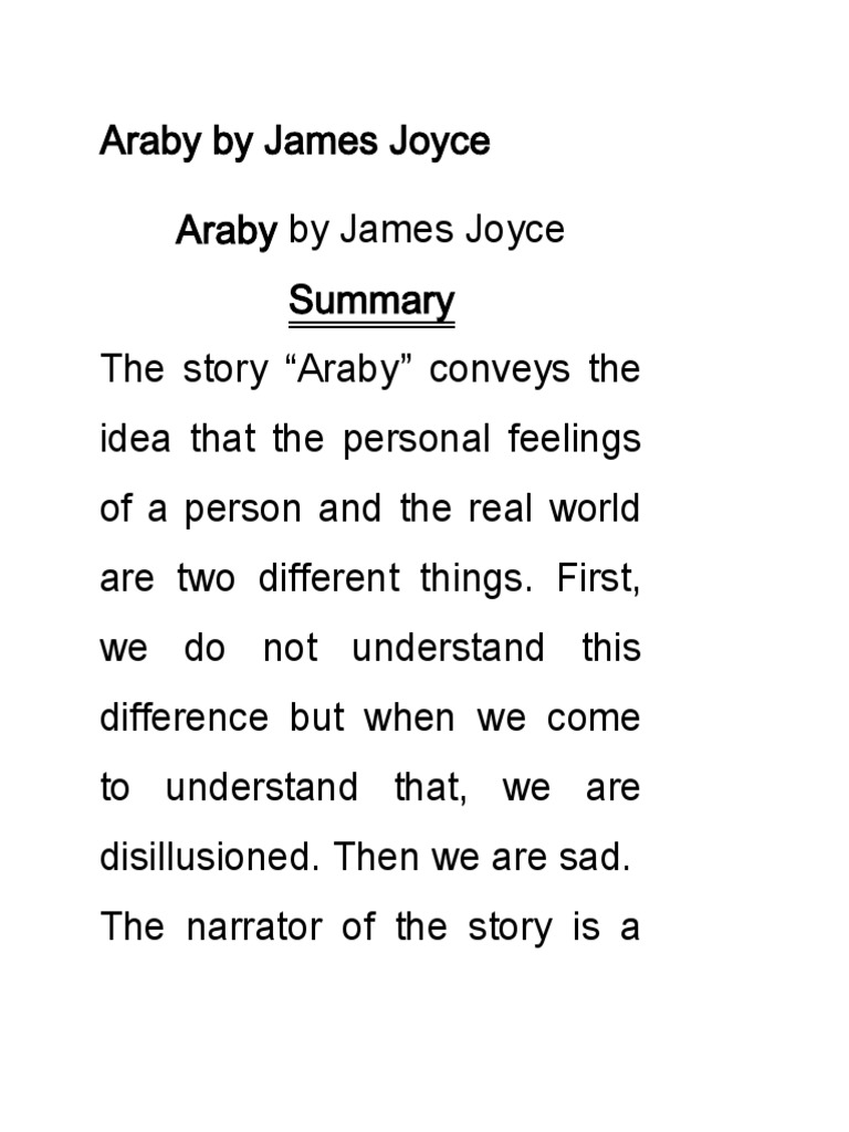 araby james joyce essay
