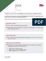 Trafic de La Journee Du 09 Octobre 2013