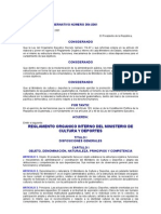 Acuerdo Gubernativo 354-2001reglamento Organico Interno Del Ministerio de Cultura y Deportes