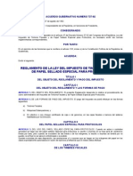 Acuerdo Gubernativo Numero 737-92 to de La Ley Del Impuesto de Timbres Fiscales y de Papel Sella