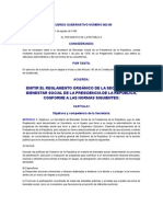 ACUERDO GUBERNATIVO NÚMERO 662-90 EMITIR EL REGLAMENTO ORGÁNICO DE LA SECRETARIA DE BIENESTAR SOCIAL DE