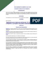 ACUERDO GUBERNATIVO NUMERO M de E. 33-69 Reglamento para la Aplicación del Decreto 1701