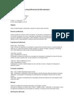 Exemplo de currículo de profissional de infra