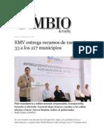 07-10-2013 Diario Matutino Cambio de Puebla - RMV Entrega Recursos de Ramos 28 y 33 a Los 217 Municipios