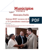 07-10-2013 Municipios Puebla - Entrega RMV Recursos de Ramos 28 y 33 a Presidentes Municipales