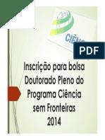 Inscrição para bolsa Doutorado Pleno CsF