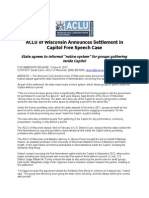 Wisconsin ACLU Statement on Capitol Settlement 100813