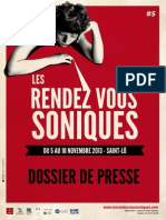 les Rendez-vous soniques 2013 - dossier de presse