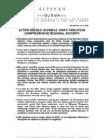 Action Needed - Burmese Junta Threatens Comprehensive Regional Security