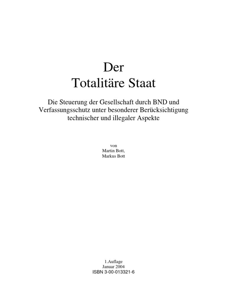 Der totalitäre Staat - Die Steuerung der Gesellschaft durch BND und ...