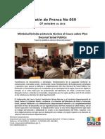 Boletín 059_ MinSalud brinda asistencia técnica al Cauca sobre Plan Decenal Salud Pública