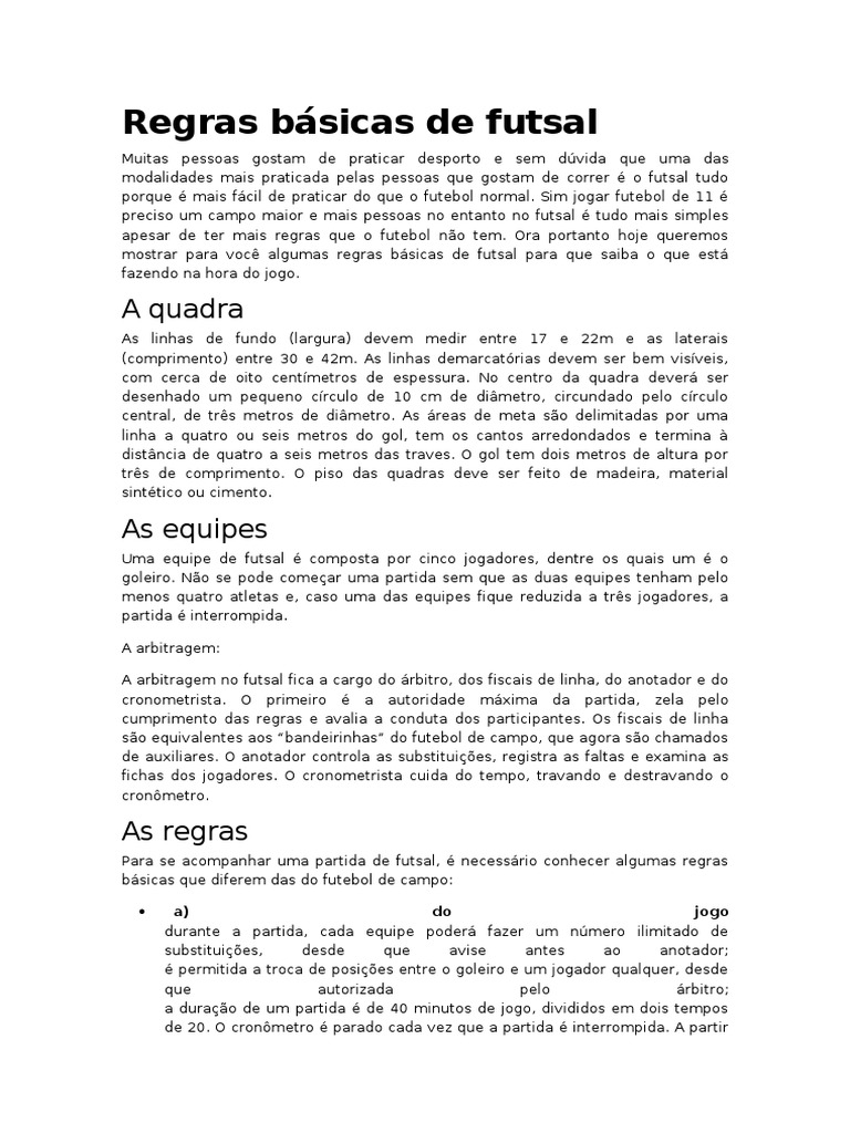 cb0c0c3b6bb42 Regras básicas de futsal