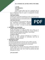 TRABAJO SOBRE LAS 22 TÉCNICAS DE LACETURA CRITICA POR DANIEL CASSANY