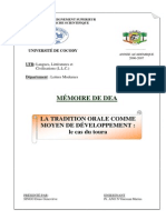 Tradition Orale & Developpement (G. Singo, DeA)