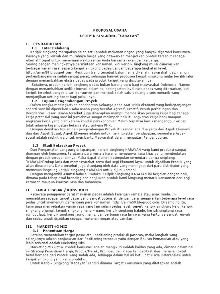 Proposal Usaha Kripik Singkong