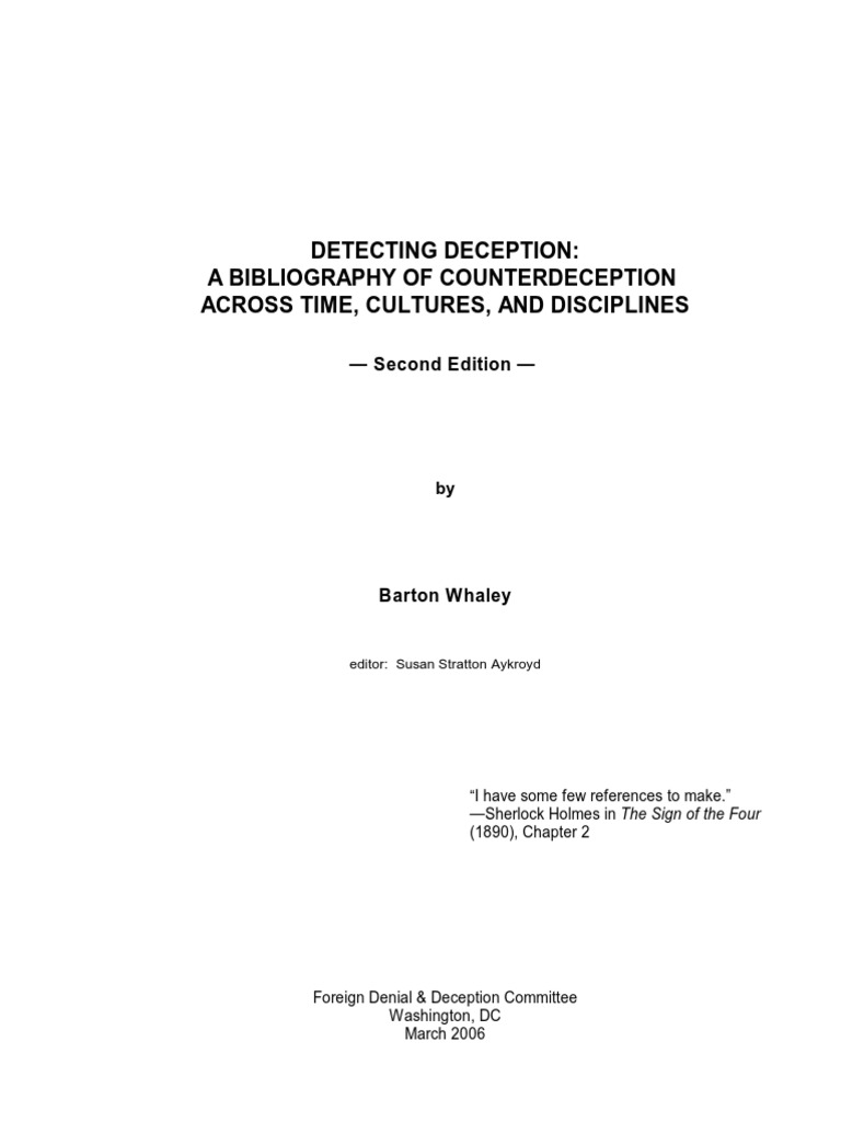 Detecting Deception_A Bibliography of Counterdeception Across Time,  Cultures, And Disciplines | Intelligence Analysis | Deception