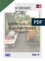 EXPERIÊNCIAS NA UTILIZAÇÃO de equipamentos para o saneamento MR_23set09_José Lazaro Gomes