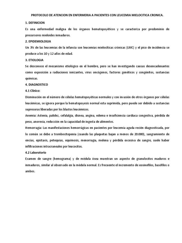 Protocolo de Atencion en Enfermeria a Pacientes Con Leucemia ...