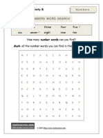 Numbers Wordsearch Worksheet